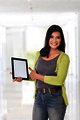 Beautiful asian woman holding a digital touch screen tablet comp