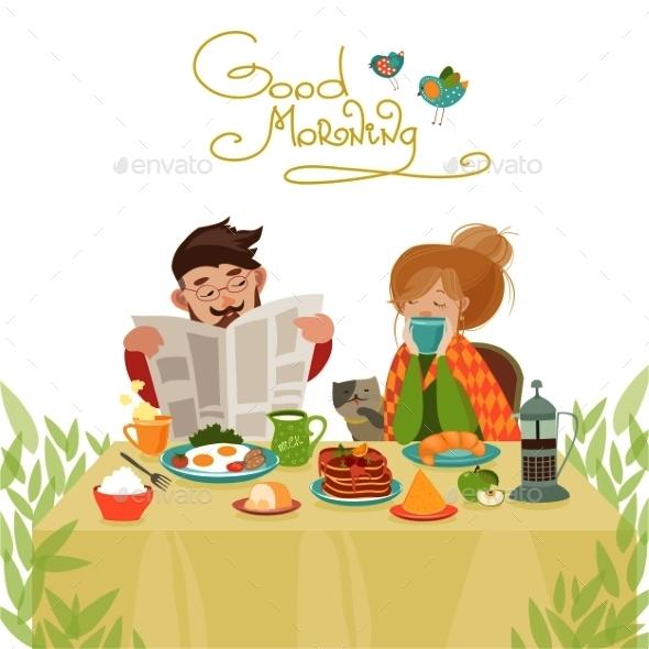 Couple in Love Having Breakfast - People Characters