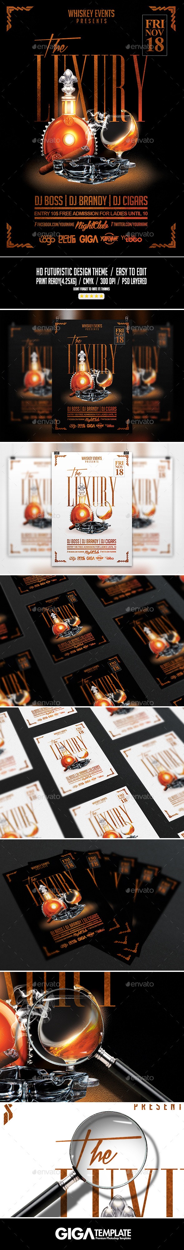 The Luxury | Whiskey & Cigar Flyer PSD Template - Events Flyers