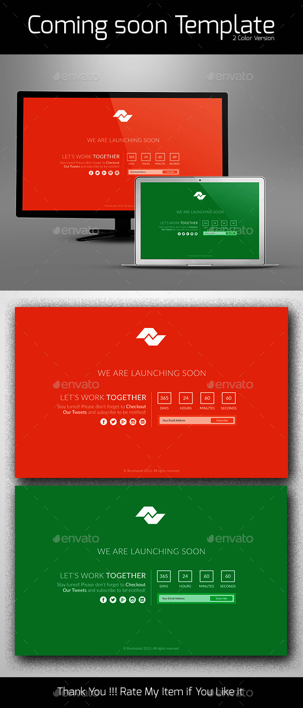 Flat Design Comingsoon Page - 404 Pages Web Elements