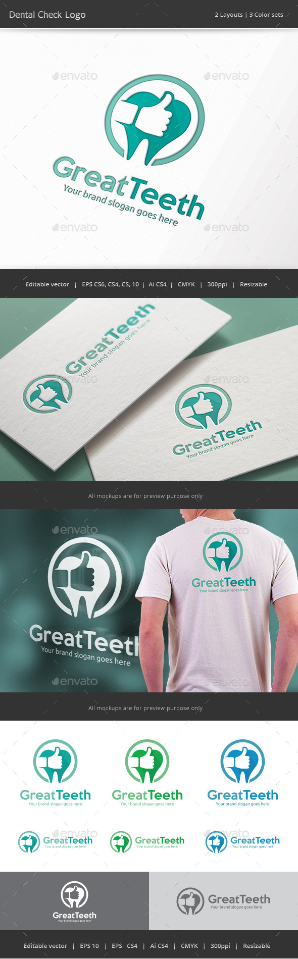 Great Teeth Dental Logo - Abstract Logo Templates