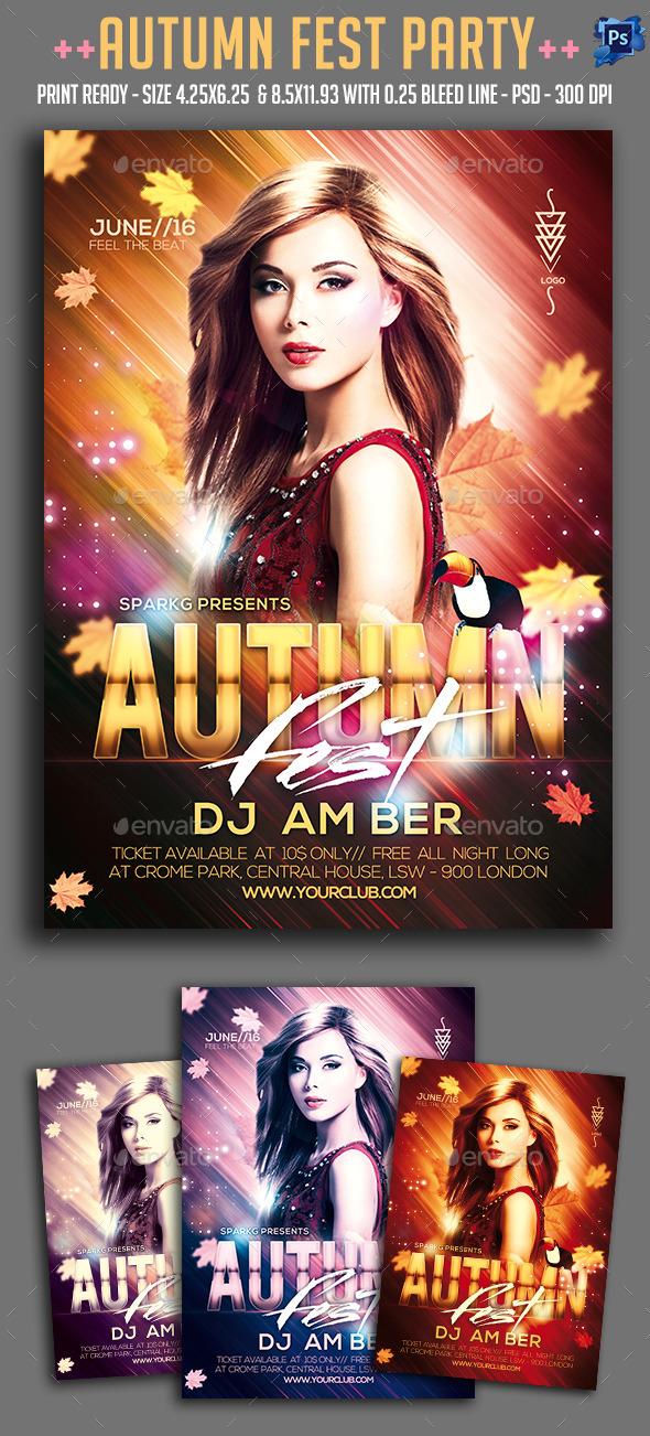 Autumn Fest Party Flyer - Clubs & Parties Events