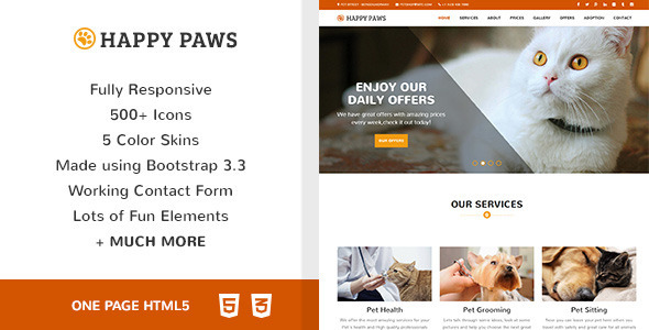 Happy Paws – Pet Responsive One Page HTML