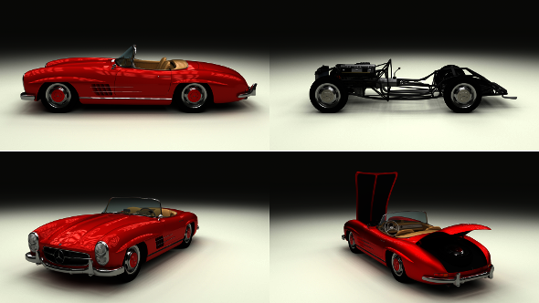 Fully Modelled Mercedes 300SL Roadster Red - 3DOcean Item for Sale