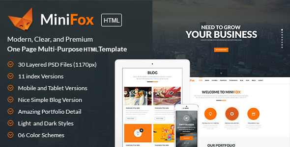 MiniFox | One Page Multi-Purpose BS3 HTML Template