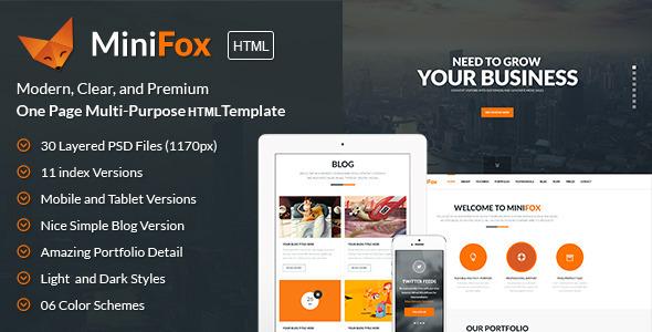 MiniFox   One Page Multi-Purpose BS3 HTML Template