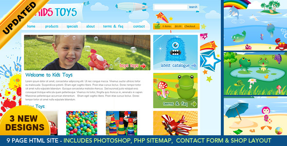 Kids Toys – 9 Page HTML Site – Shopping Cart