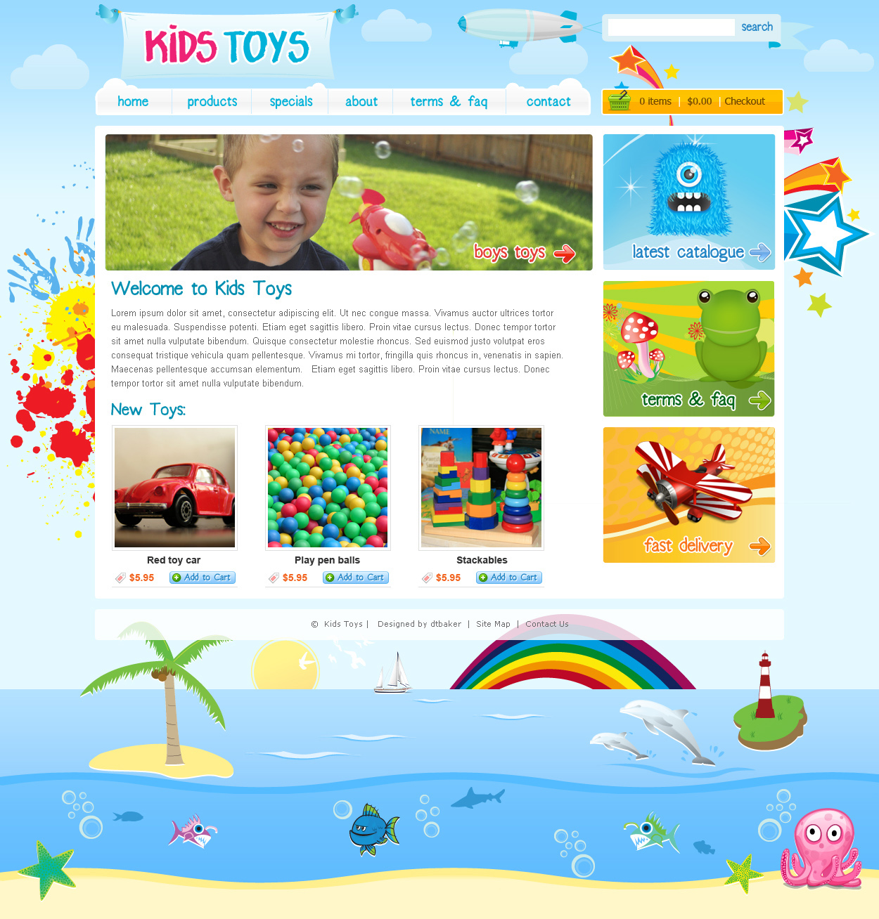 kids toys 9 page html site - Home Pages For Kids