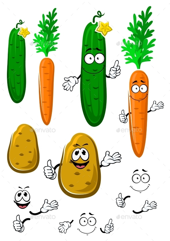 Carrot, Cucumber And Potato Vegetables - Food Objects