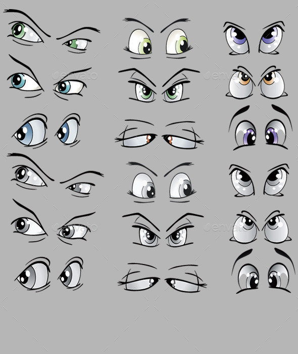 Set of Cartoon Drawn Eyes - People Characters