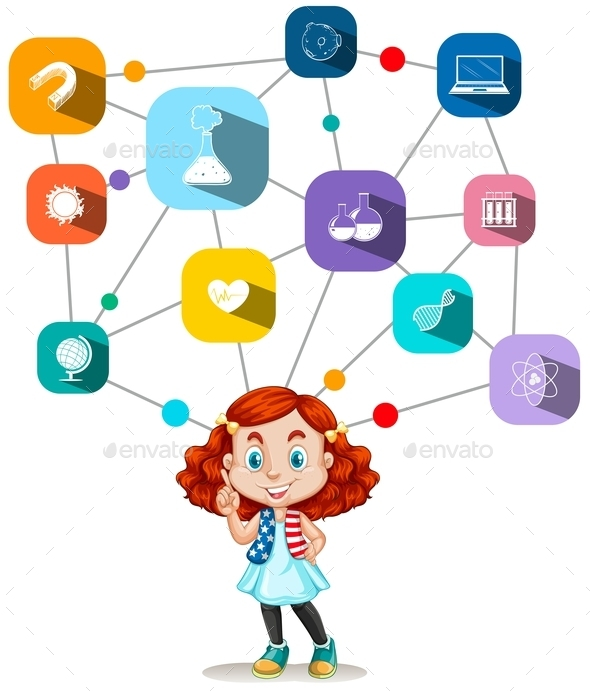 Girl with Science Icons Diagram - People Characters