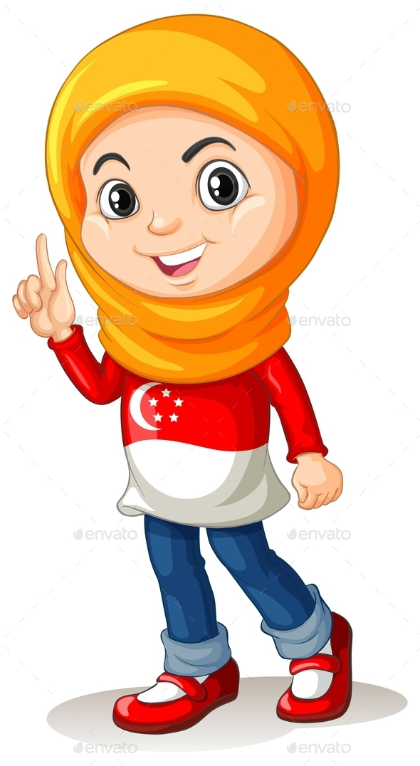 Singapore Girl with Head Scarf - People Characters