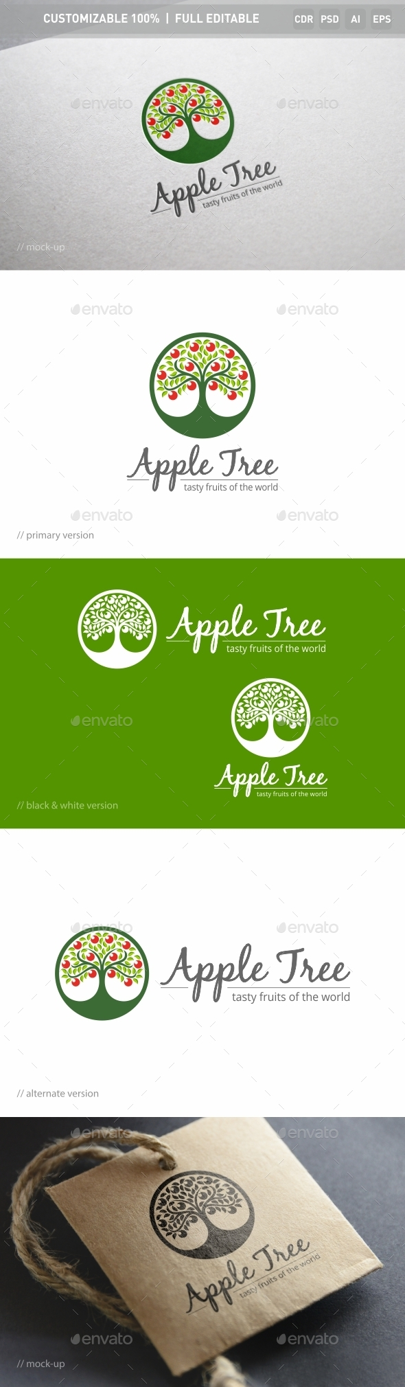 Apple Tree Logo Template - Nature Logo Templates