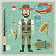 Fisherman Flat Character.  Fishing Flat Icons - GraphicRiver Item for Sale