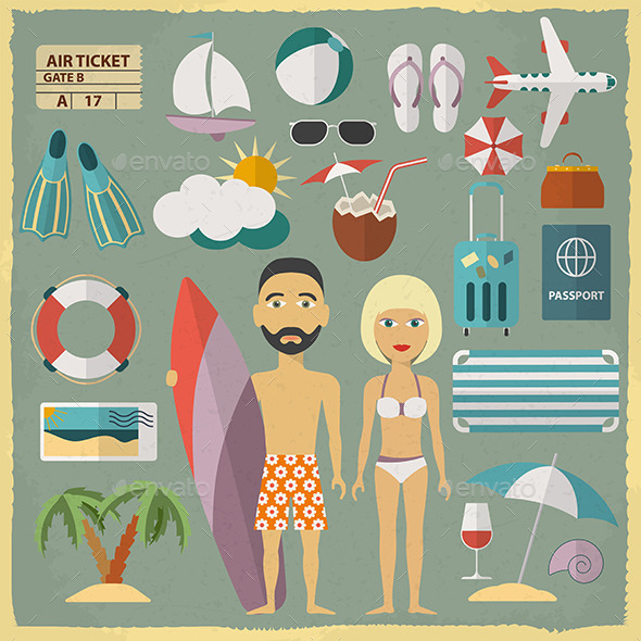 Summer Holiday Character Design With Summer - Travel Conceptual