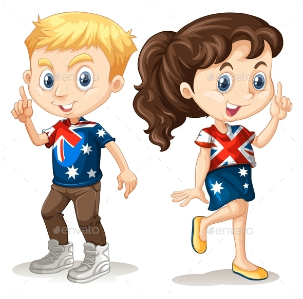 Boy and Girl in American T-shirts - People Characters