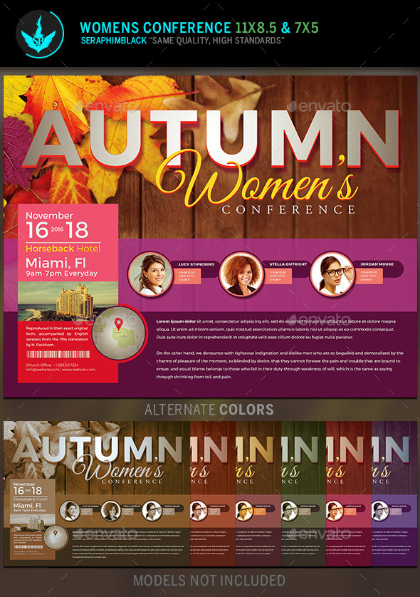 Autumn Women\'s Conference Flyer Template by SeraphimBlack | GraphicRiver