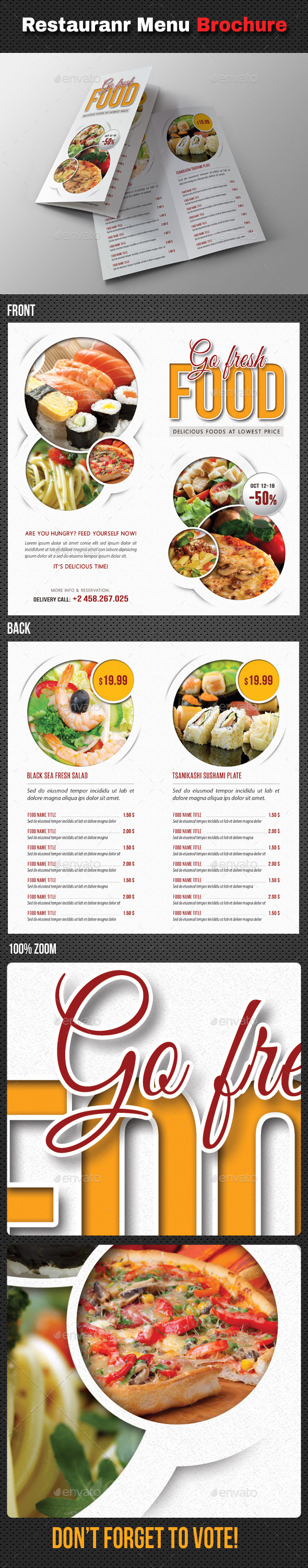 Go Fresh Restaurant Menu Bifold Brochure - Food Menus Print Templates