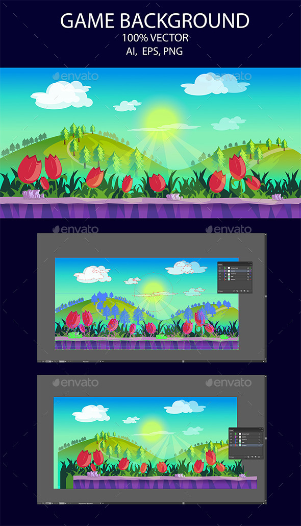 Game Background Flower And Hills - Backgrounds Game Assets