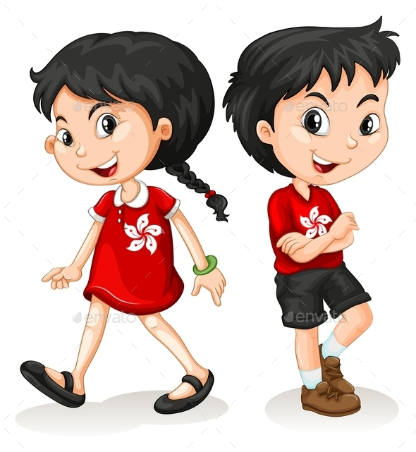 Little Boy and Girl from Hong Kong - People Characters