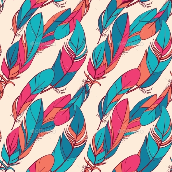 Colorful Seamless Pattern With Feathers  - Backgrounds Decorative