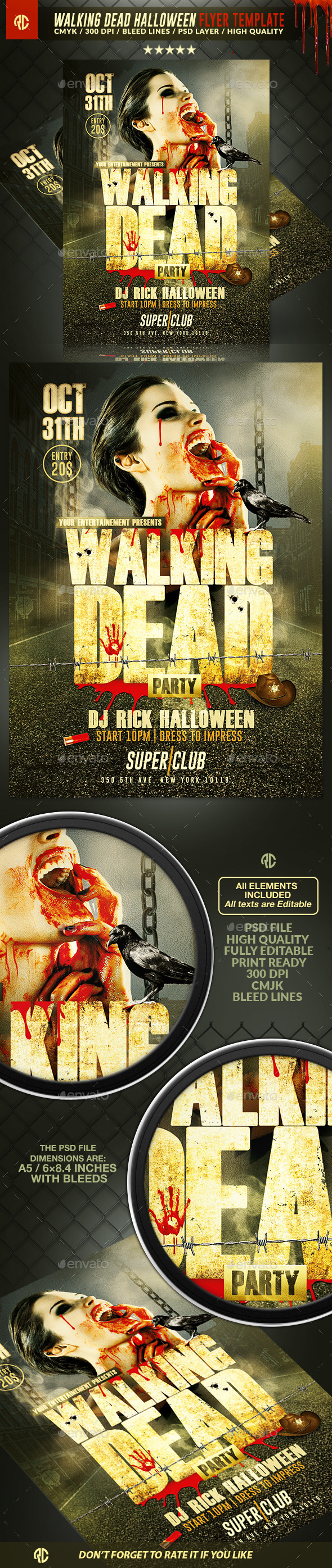 Walking Dead Halloween | Flyer Template - Events Flyers