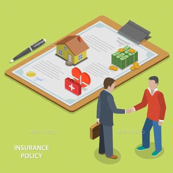 Insurance Policy Deal Flat Isometric Vector.  - Concepts Business