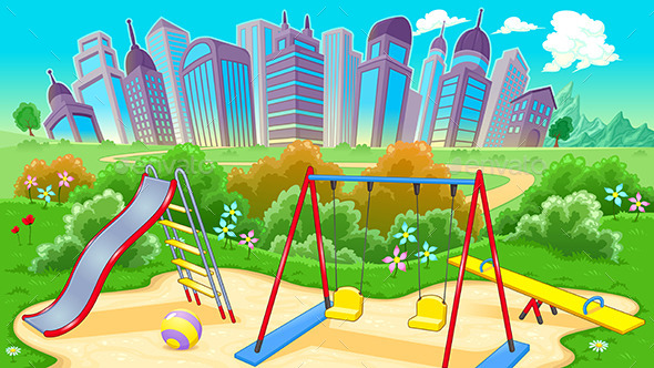 View on the Playground with City - Buildings Objects