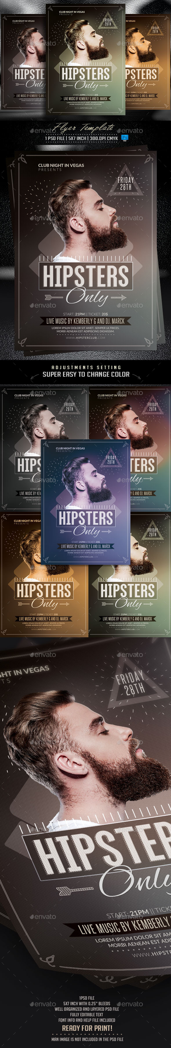 Hipsters Only Flyer Template - Events Flyers