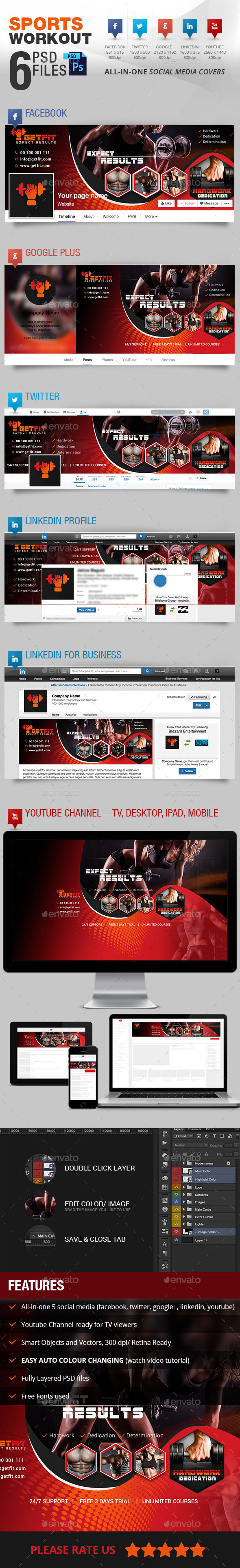 5 Social Media Cover Package for Workouts - Social Media Web Elements