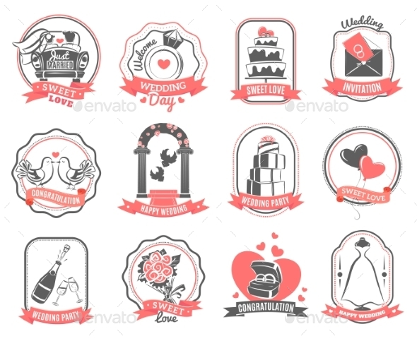 Wedding Marriage Engagement Emblems Outline Set - Weddings Seasons/Holidays