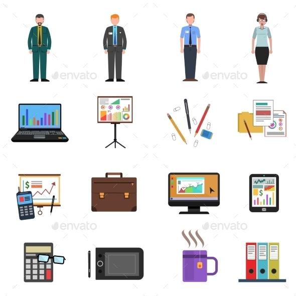 Office Icons Flat Set - Objects Icons