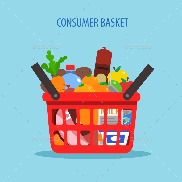 Shopping Basket Flat Concept - Food Objects