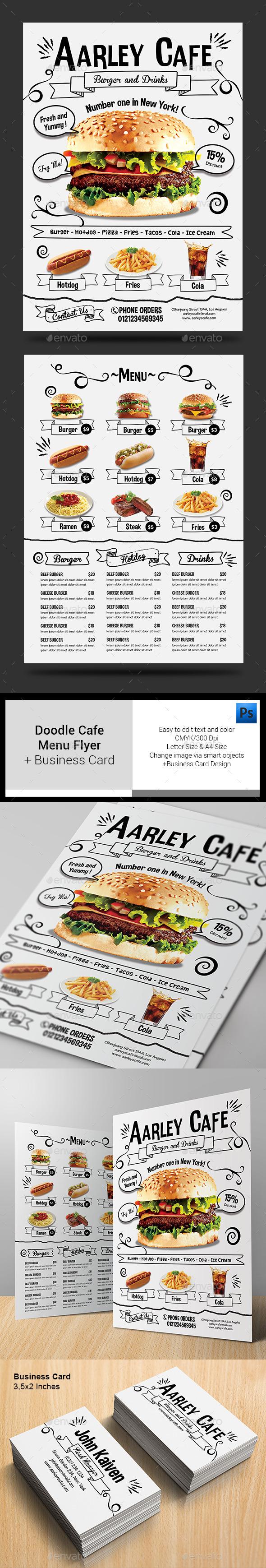 Doodle Cafe Menu & Business Card