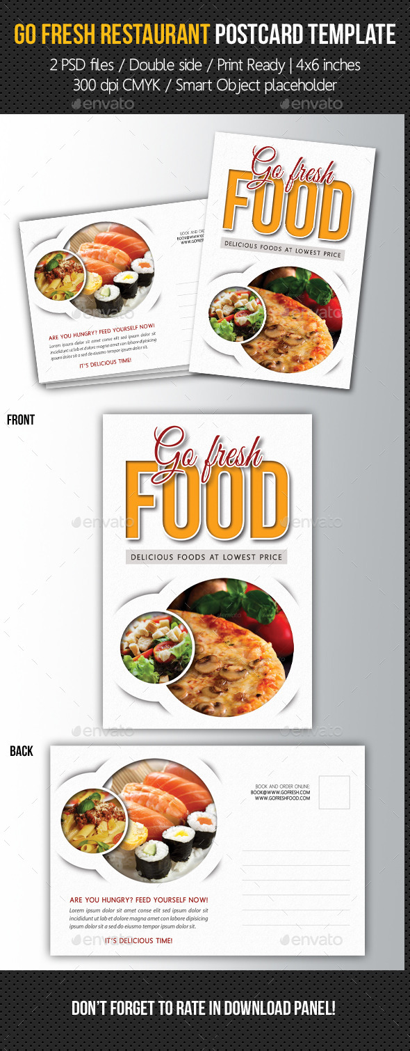 Go Fresh Food Postcard Template