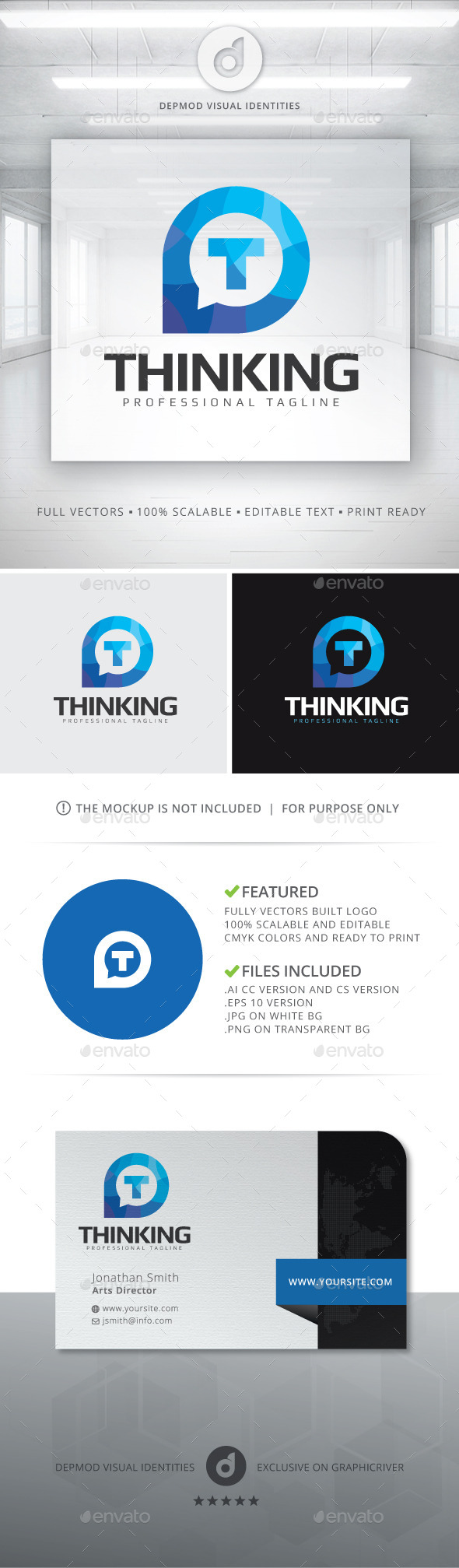 Thinking Logo - Letters Logo Templates
