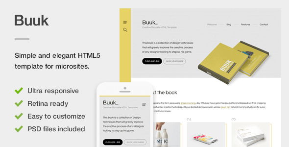 Buuk - A Unique Microsite & Landing HTML5 Template - Marketing Corporate