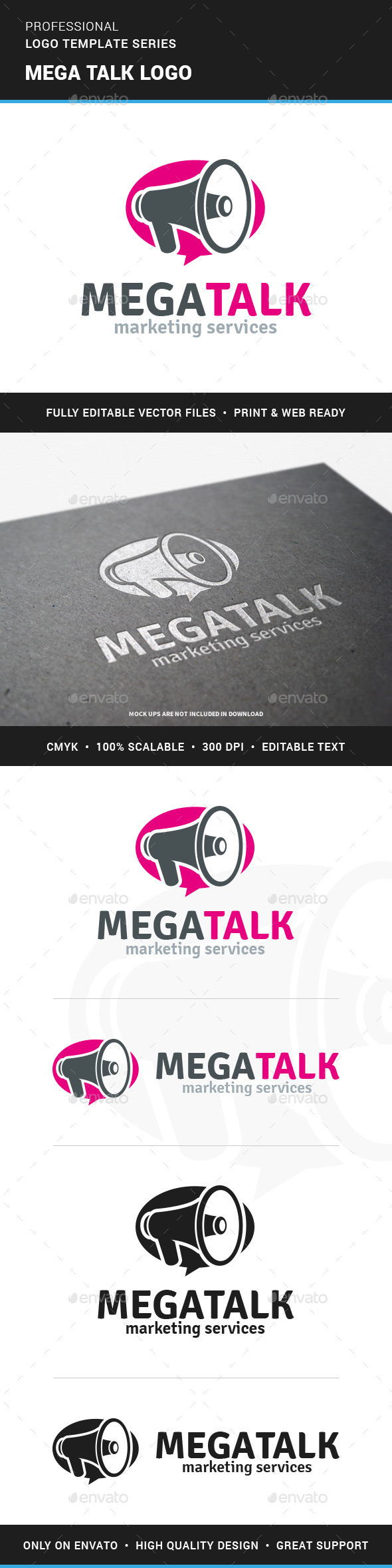 Mega Talk - Megaphone Logo - Objects Logo Templates
