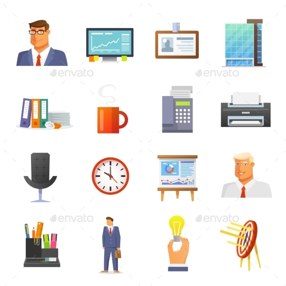 Office Icons Flat Set