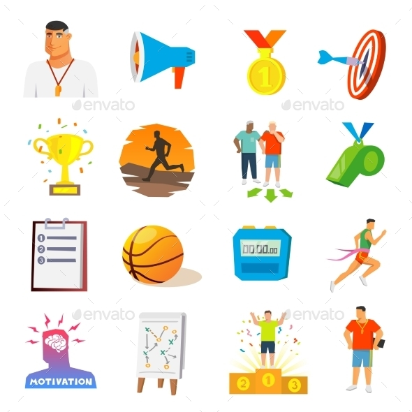 Coaching And Sport Flat Icons - Miscellaneous Icons