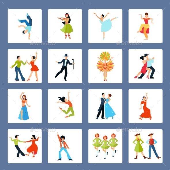 Various Dance Styles Flat Icons