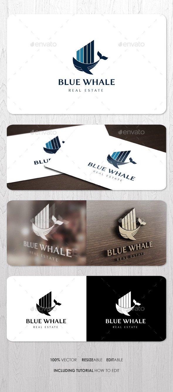 Blue Whale Real Estate Logo - Vector Abstract