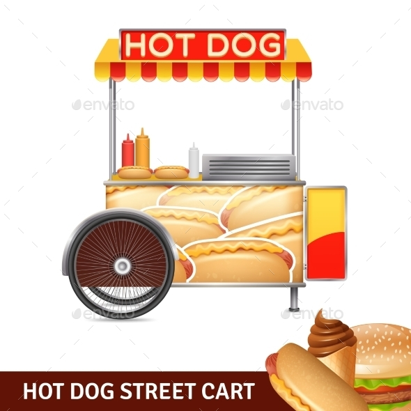 Hot Dog Street Cart Illustration  - Food Objects
