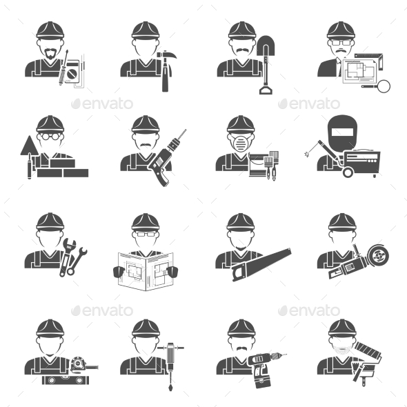 Worker Icons Black Set - People Characters