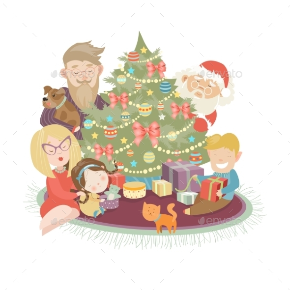 Family Celebrating Christmas At The Christmas Tree - Christmas Seasons/Holidays