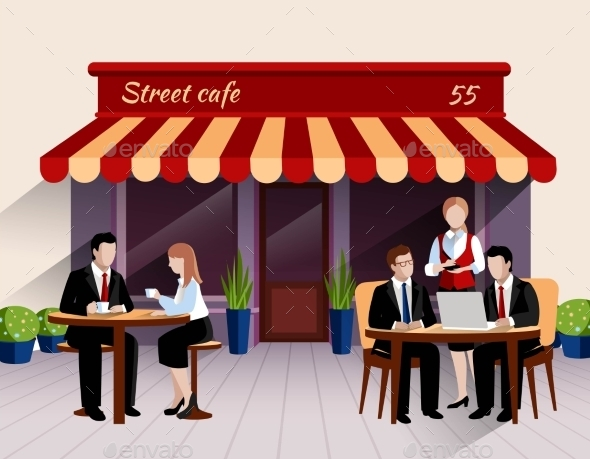 Street Cafe Customers Flat Banner Illustration - Concepts Business