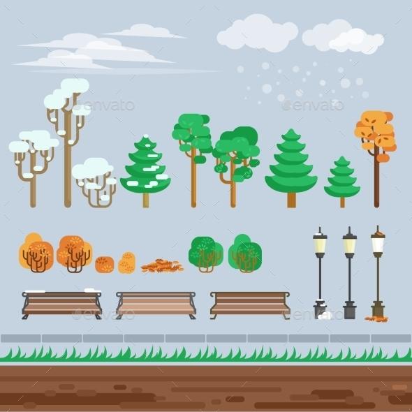 Game 2d  Winter Landscape Park Background  - Backgrounds Decorative