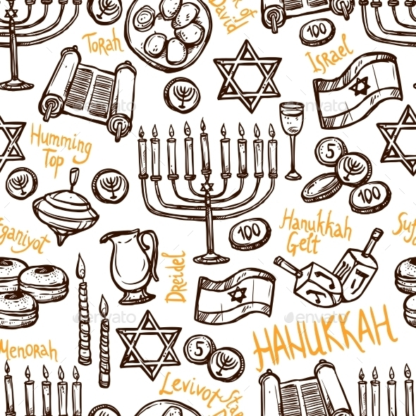 Hanukkah Seamless Pattern - Seasons/Holidays Conceptual