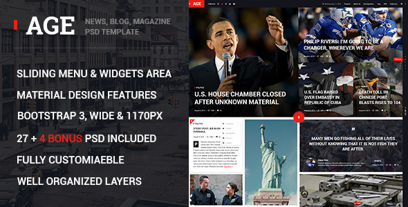 AGE – Material Design Magazine Blog PSD Template