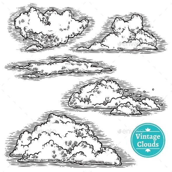 Hand Drawn Clouds Set - Organic Objects Objects